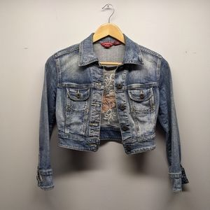 GUESS Jean Jacket Size Small Embroidered Butterfly